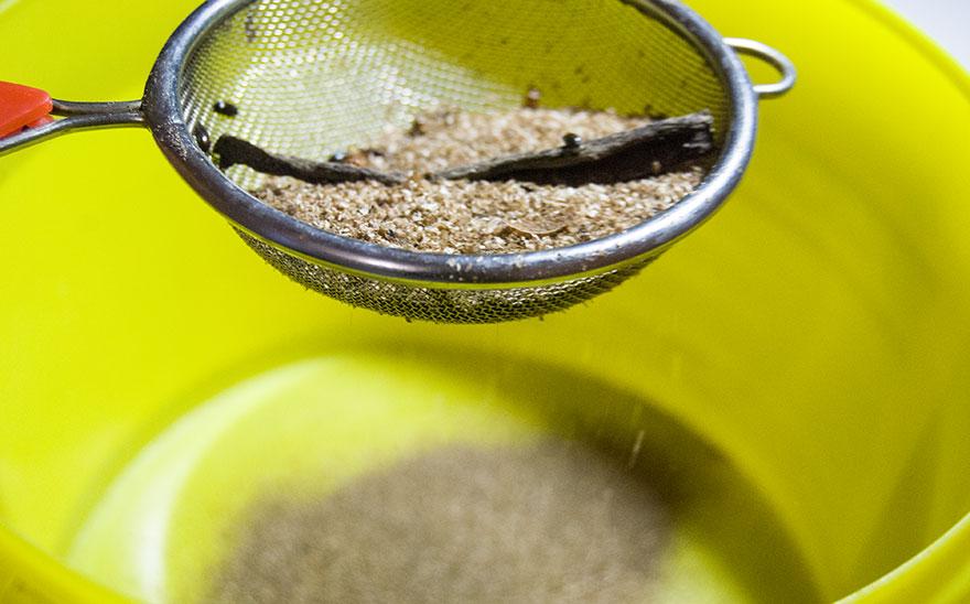 просеивание субстрата для жука чернотелки